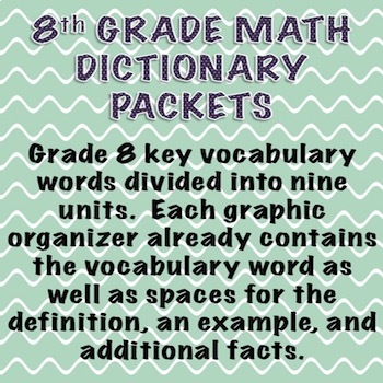 8th Grade Math Dictionary Vocabulary Packets for ENTIRE Year!