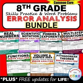 8th Grade Math ERROR ANALYSIS (Find the Error) Common Core { BUNDLE }