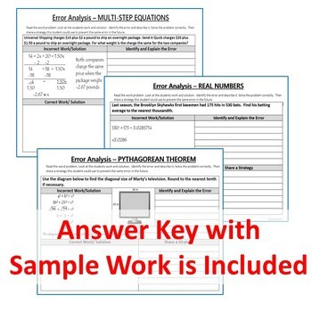 8th Grade Math ERROR ANALYSIS (Find the Error) BUNDLE