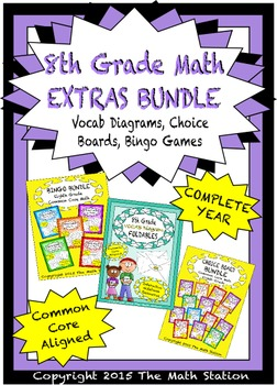 8th Grade Math EXTRAS BUNDLE - Choice Boards, Vocab Diagrams, Bingo