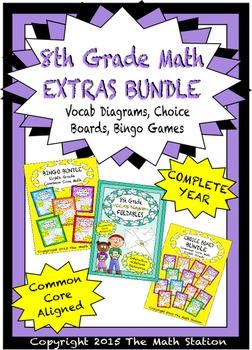 8th Grade Math EXTRAS BUNDLE - Choice Boards, Vocab Diagra