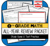 8th Grade Math Review End of Grade Test Packet and Study Guide