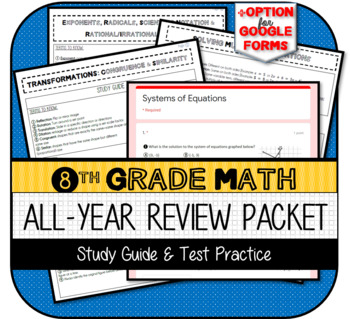 8th Grade Math Review End of Grade (GA Milestones) Packet