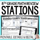 End of Year 8th Grade Math Review Stations
