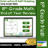 8th Grade Math End of Year Test Prep Review: Self-Checking using Google Slides
