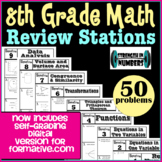 8th Grade Math End of the Year Review Stations- Goformative.com Version included