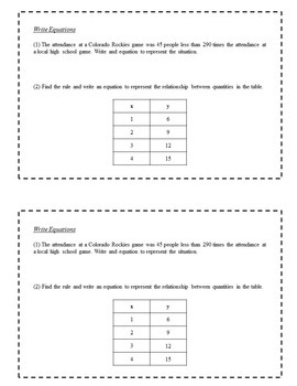 8th Grade Math Enrichment Task Cards - Equations and Inequalities