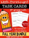 8th Grade Math Enrichment Task Cards Full Year Bundle