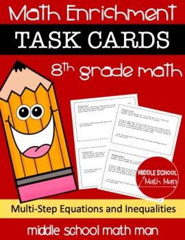 8th Grade Math Enrichment Task Cards - Multi-Step Equation