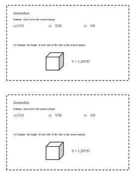 8th Grade Math Enrichment Task Cards - Real Numbers and Monomials