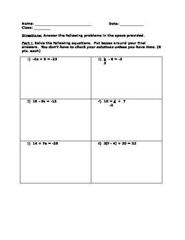 8th Grade Math Equation Solving Quiz