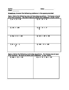8th Grade Math Equation Solving Test