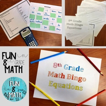 8th Grade Math Equations Review Bingo
