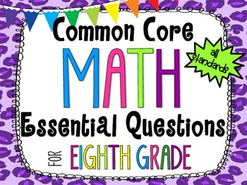 8th Grade Math Essential Questions Cheetah Print *Common Core Aligned*