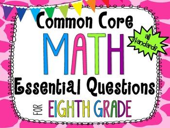 8th Grade Math Essential Questions Giraffe Print *Common Core Aligned*