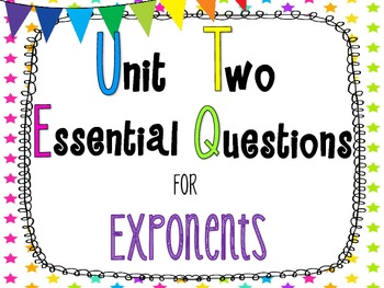 8th Grade Math Essential Questions Neon Stars *Common Core Aligned*