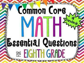8th Grade Math Essential Questions Rainbow Chevron *Common