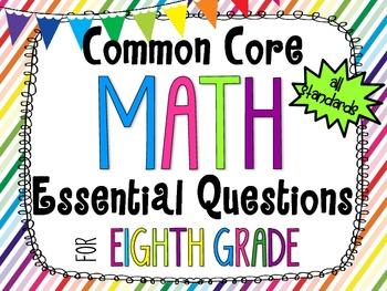 8th Grade Math Essential Questions Rainbow Stripes *Common
