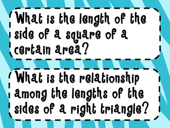 8th Grade Math Essential Questions Zebra Print *Common Core Aligned*