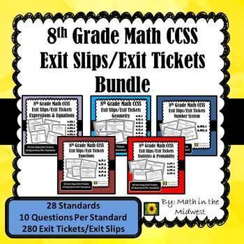 8th Grade Math Exit Slips/Exit Tickets Bundle {Common Core}