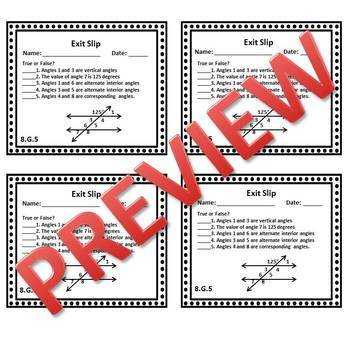 8th Grade Math Exit Slips/Exit Tickets Geometry