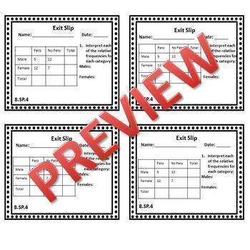 8th Grade Math Exit Slips/Exit Tickets Statistics & Probability