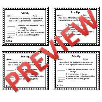 8th Grade Math Exit Slips/Exit Tickets Expressions & Equations