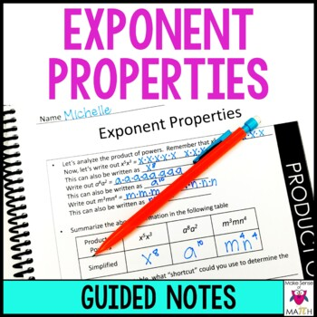 8th Grade Math Exponent Properties Guided Notes