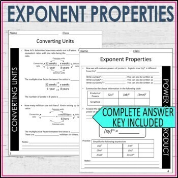 Exponent Properties Guided Notes - Exponent Rules Notes