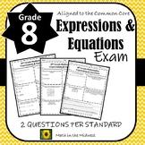8th Grade Math Expressions & Equations Assessment/Exam/Test