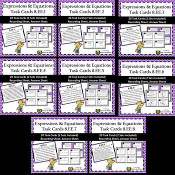 8th Grade Math Expressions & Equations Task Card Bundle