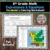 8th Grade Math Expressions & Equations Vocabulary Coloring Worksheet