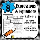 8th Grade Math Expressions & Equations Homework/Worksheets