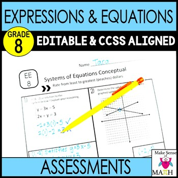 Expressions and Equations Mini Assessments  8th Grade Math Common Core