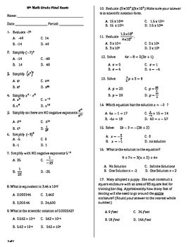 8th Grade Math Final Exam Worksheets & Teaching Resources | TpT