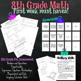 8th Grade Math Pre-Test, Gallery Walk, Game