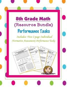 8th Grade Math (Formative Assessment) Performance Task [[Bundle]]