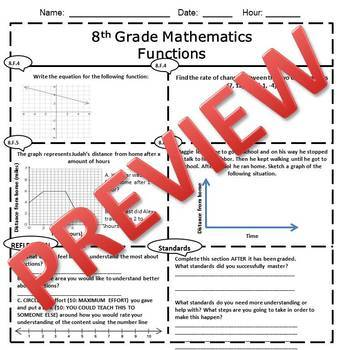 8th Grade Math Functions Assessment/Exam/Test/Review {EDITABLE}