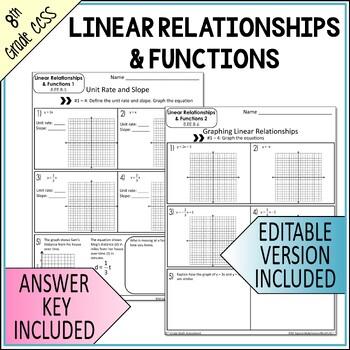 Functions Mini Assessments  8th Grade Math Common Core