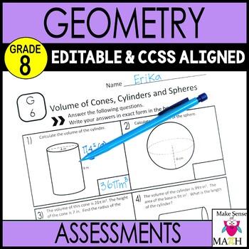 8th Grade Math Geometry Common Core Mini Assessments