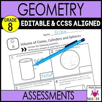 8th Grade Geometry Assessments Common Core Aligned
