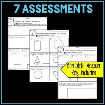 8th Grade Geometry Assessments Common Core Aligned EDITABLE