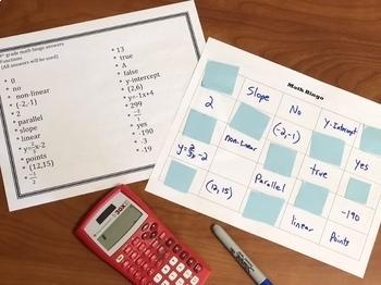 8th Grade Math Functions Review Bingo