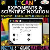 8th Grade Math Game DIGITAL Exponents & Scientific Notatio