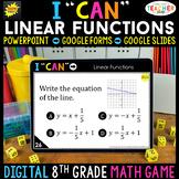 8th Grade Math Game DIGITAL   Linear Functions & Graphs  