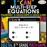 8th Grade Math Game DIGITAL   Multi-Step Equations   Dista