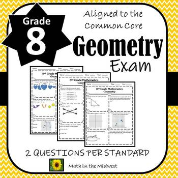 8th Grade Math Geometry Assessment/Exam/Test/Review {EDITABLE}