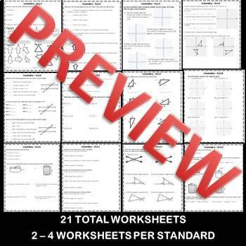 8th Grade Math Geometry Homework/Worksheets