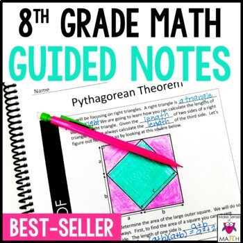 8th Grade Math Guided Notes Growing Bundle Common Core Aligned