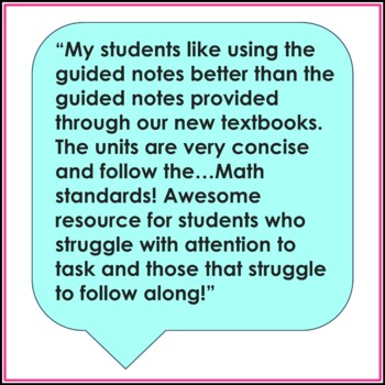 8th Grade Math Guided Notes Bundle Common Core Aligned